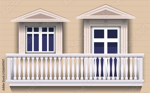 Fototapety, obrazy: view of door and windows at the balcony