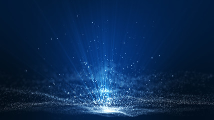 Abstract dark blue digital background with sparkling blue light particles and areas with deep depths Particles form into lines, surfaces and grids