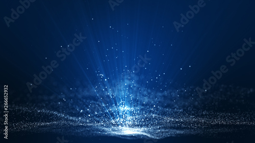 Abstract dark blue digital background with sparkling blue light particles and ar Fototapet