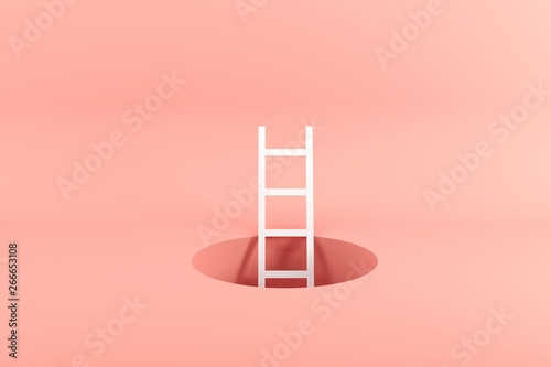 Outstanding white ladder standing inside hole on pink background. Minimal conceptual idea concept. 3D Render.