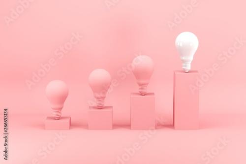 Photo  Outstanding white light bulb among pink light bulbs on bar chart on pink background
