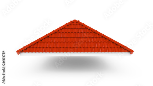 Fototapeta 3d roof on the white background. 3d rendering,red roof tile isolated on the white background,Tile with structure on the white background.gable roof obraz
