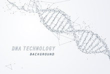 Wire Frame Of DNA Virtual, Technology And Medical Concept