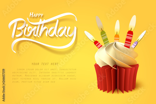Photo  Paper art of the cup of cake and happy birthday calligraphy hand lettering