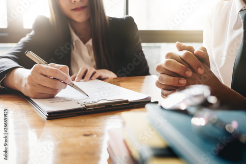 Fototapeta Business woman or judge consult having team meeting with client, Law and Legal services concept