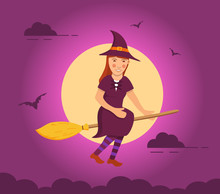 Witch Flying On Broomstick Bac...