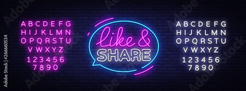 Valokuva Like Share neon sign vector design template