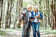 canvas print picture - Beautiful senior couple hiking with backpacks and trekking sticks in the forest. Concept of active lifestyle on retirement