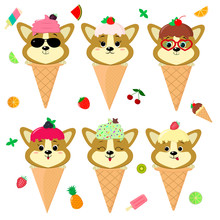 Set Collection Of Six Dog Corgi Puppy In The Image Of Ice Cream. A Frosting Ice Cream With A Berry, In A Cartoon Style, Sits In A Waffle Cone On The Head. Fruits And Berries. Flat, Vector