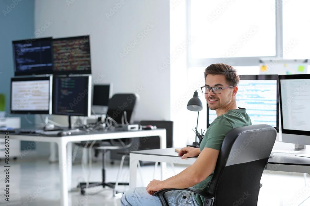Fototapeta Portrait of male programmer in office