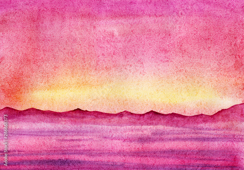 Poster Rose Hand drawn watercolor Landscape. Pink sunset sky and see. Dark silhouette of further mountains.