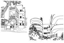 Nice Streets Of White City Tel Aviv, Hand Drawn Sketch. Vector.