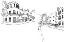 Streets Of Tel Aviv, Hand Draw...
