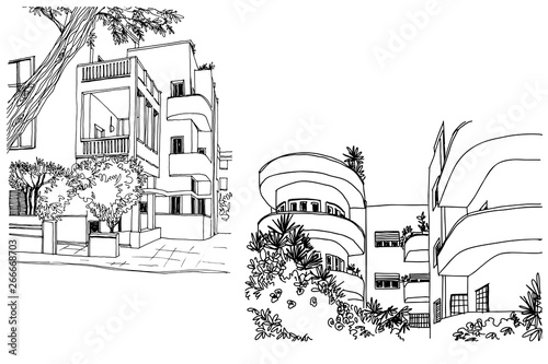 Fotomural  Nice Streets of White city Tel Aviv, hand drawn sketch. Vector.