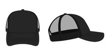 Trucker Cap / Mesh Cap Template Illustration (black)