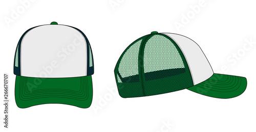 Obraz trucker cap / mesh cap template illustration (white & green) - fototapety do salonu