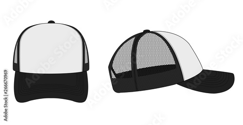 Fototapeta trucker cap / mesh cap template illustration (white & black)