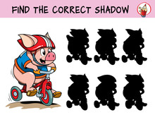 Funny Little Pig Rides A Bike. Find The Correct Shadow. Educational Matching Game For Children. Cartoon Vector Illustration