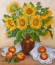 Still Life - Beautiful Blooming Sunflowers In Vase On Table With Fresh Red Apples From A Garden. Original Oil Painting.