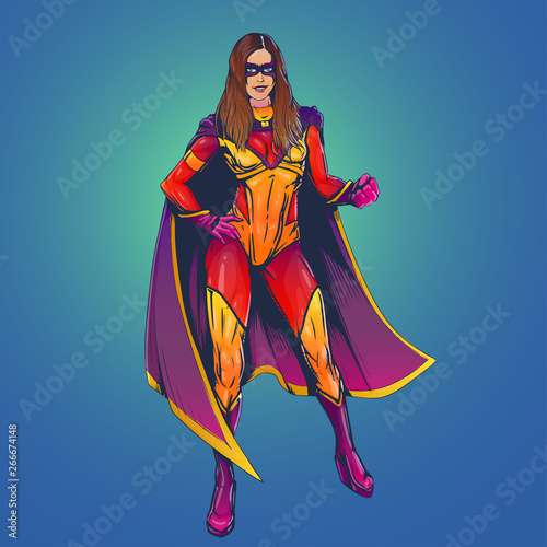Photo  strong adult sexy woman superhero