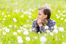 Happy Spring Woman On Dandelion Field Enjoying Spring Warm Days