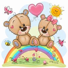 Cartoon Bears Are Sitting On The Rainbow
