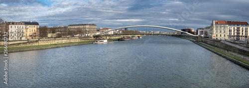 Fototapeta Large panoramic view of The Lovers Bridge (Bernatek Footbridge) on Vistula River. Krakow, Poland obraz