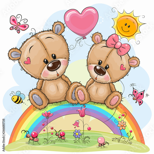 Foto Cartoon Bears are sitting on the rainbow