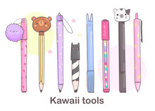 Various Pens, Pencils Ond Other Writing Office Tools. Hand Drawn Kawaii Vector Set. Cute Colored Trendy Illustration For Kids And Adults. Flat Design. All Elements Are Isolated