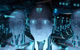 Fototapeta Panels - Group of male robots following leader cyborg army 3d rendering