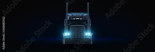 Obraz Black heavy truck. 3d rendering - fototapety do salonu