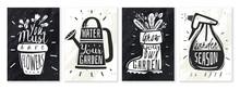 Garden Plants Chalk Posters Set