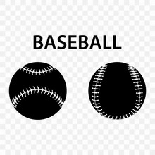 Set Of Silhouettes Of Baseball Balls On Transparent Background. Baseball Sports Concept, Baseball Ball Icon.