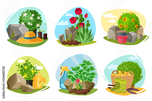 Fototapety, obrazy: Garden plants and stones emblems set
