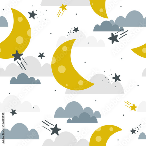 Moon, clouds and stars, hand drawn backdrop. Colorful seamless pattern, sky. Decorative cute wallpaper, good for printing. Overlapping colored background vector. Design illustration