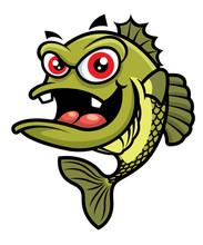 Cartoon Cute Big Red Eyes Bass Fish Character - Vector Mascot