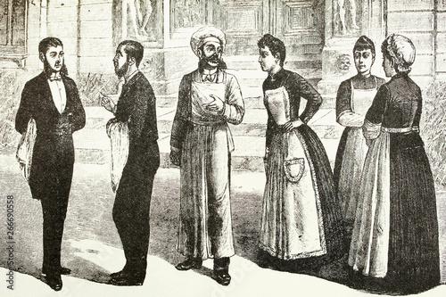 Servants. Waiter, waitress, cook.   Antique illustration. 1892. Tableau sur Toile