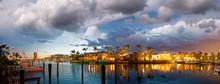 Boca Raton And City Lake On A Beautiful Sunset, Panoramic View