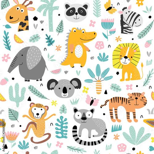 Wzór z uroczych zwierząt tropikalnych