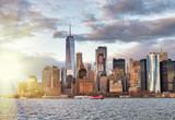 Amazing sunset skyline of Lowr Manhattan from a cruise ship - 266700389