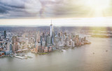 New York City from helicopter point of view. Downtown Manhattan, Jersey City and Hudson River on a cloudy day - 266700529