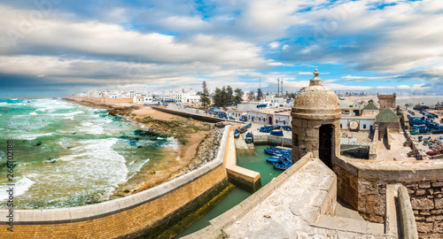 In de dag Schip Landscape with old fortress and fishing port of Essaouira, Morocco