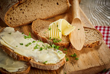 Buttered Slices Of Fresh Rye Bread With Parsley