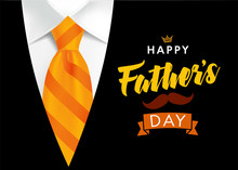 Happy Father's Day Greeting Card. Banner Concept With Striped Orange Necktie And Men's Suit On Background For Father Day. Vector Illustration