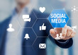 Social media network community manager touching icons about reputation on internet with likes, love, messages, shares and viral advertisement, online corporate presence, professional business person