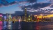 Time lapse of Skyscrapers and floating ship at Victoria harbor, Hong Kong. 4K