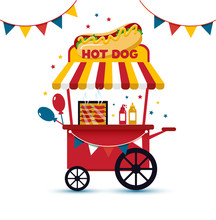 Fast Food Hot Dog Cart And Str...