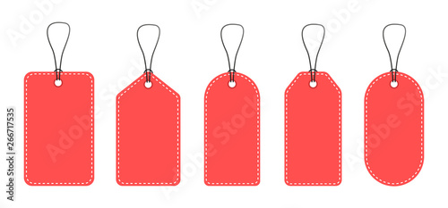 Cuadros en Lienzo A set of empty price tags. Red price tags.