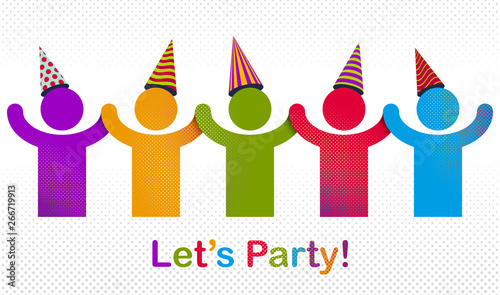 Obraz na plátne Celebrating people vector concept simple illustration or icon, celebration anniversary or holiday fun, group of cheerful happy people having fun at party