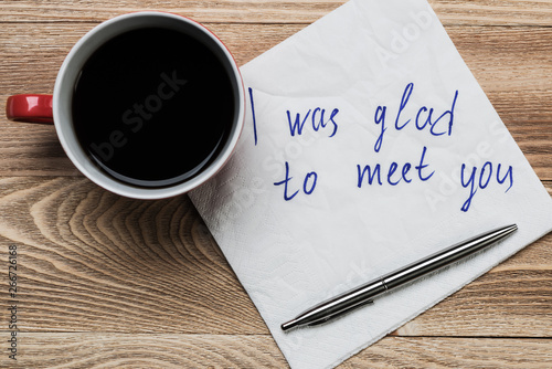 Photo  Romantic message written on napkin
